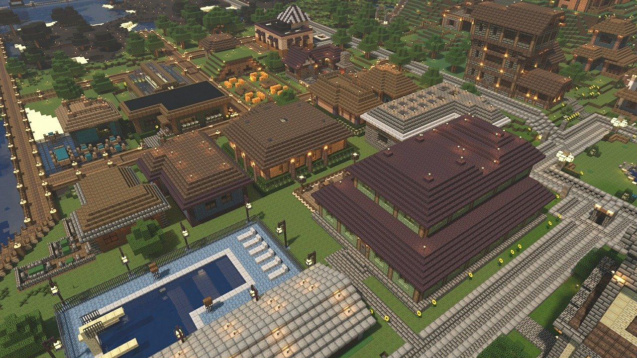 Minecraft Render Video Game Town Colorful Medieval