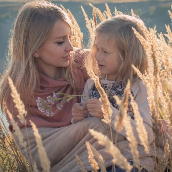Family Mom And Daughter Girl Outdoors Blonde Women