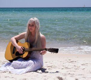 Woman Young Musician Beach Ocean Instrument